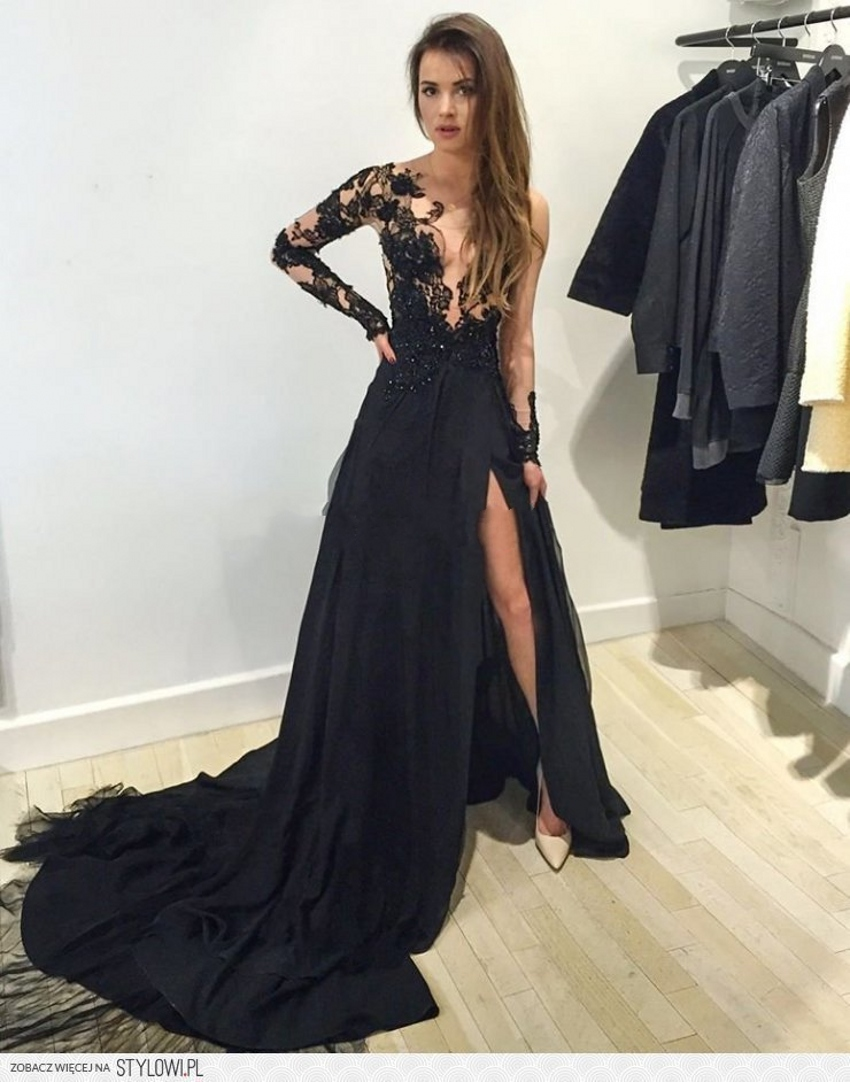 Black Long Sleeve Lace Prom Dress