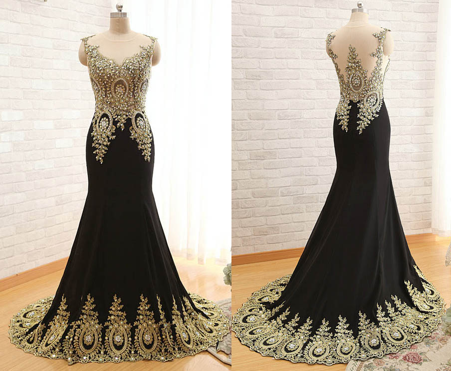 Formal Black Mermaid Gold Applique Prom Dress, Long