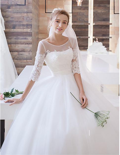 Organza Ball Gown Wedding Dress Keyhole Back Lace Up Back