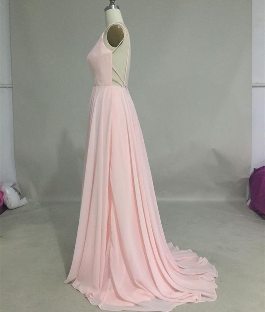 02db28a6652 ... Pretty chiffon spaghetti straps V-neck light pink backless prom dress