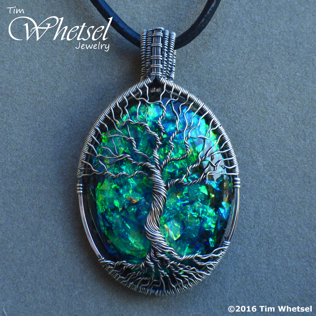 Silver Wire Wrap Tree Of Life Pendant Opalescent Glow In