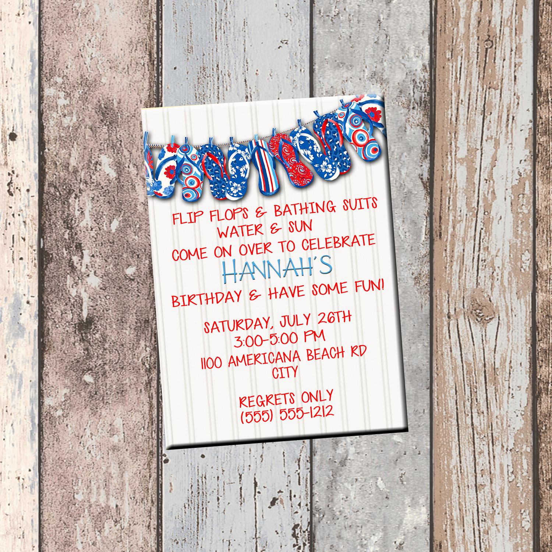 305e3f2cbda629 Red White Blue Flip Flop Personalized Birthday Invitation 1 Sided ...