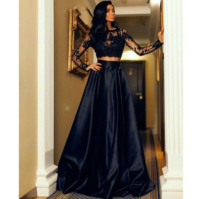 f150728f7b3c Black Lace Two Piece Prom Dresses With Long Sleeve With Lace Appliques  Satin Sexy Formal Evening