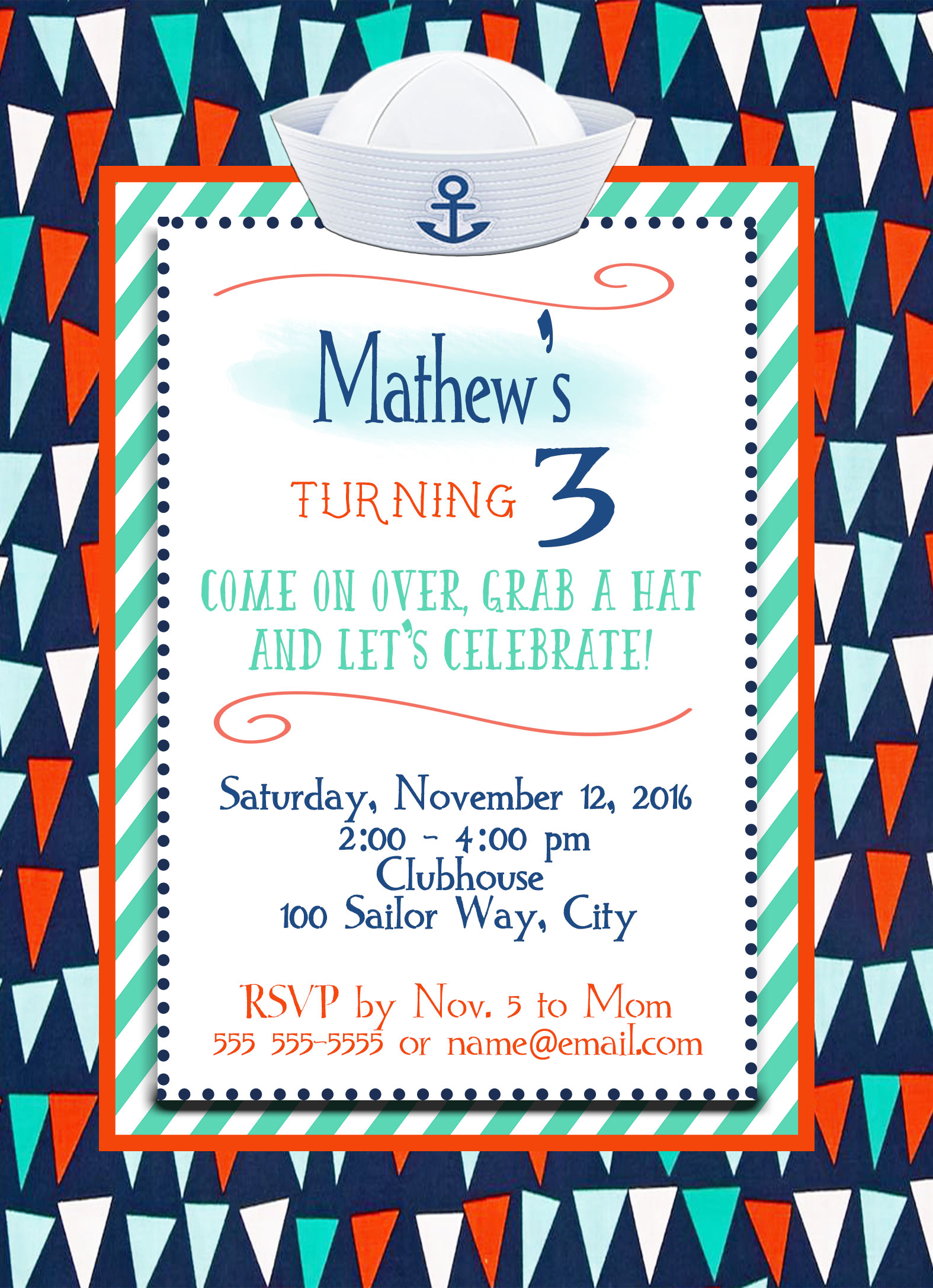 Nautical Flags & Sailor Hat Personalized Birthday Invitation 1 Sided ...