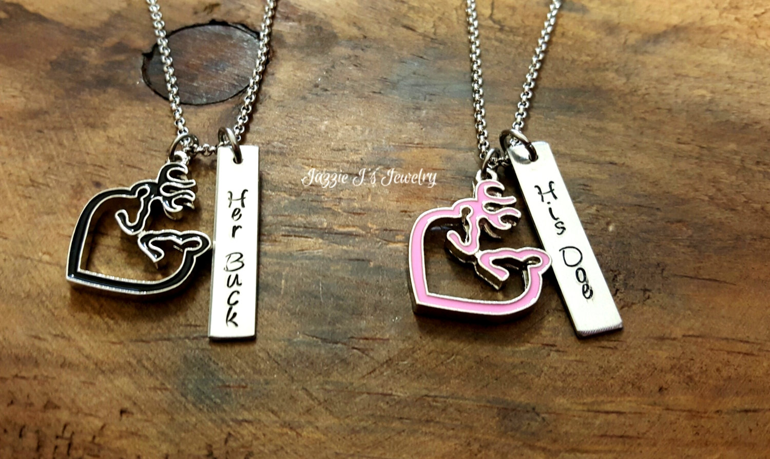 6442f8ac80 Her Buck His Doe Hand Stamped Necklace Set with Buck/Doe Charm ...