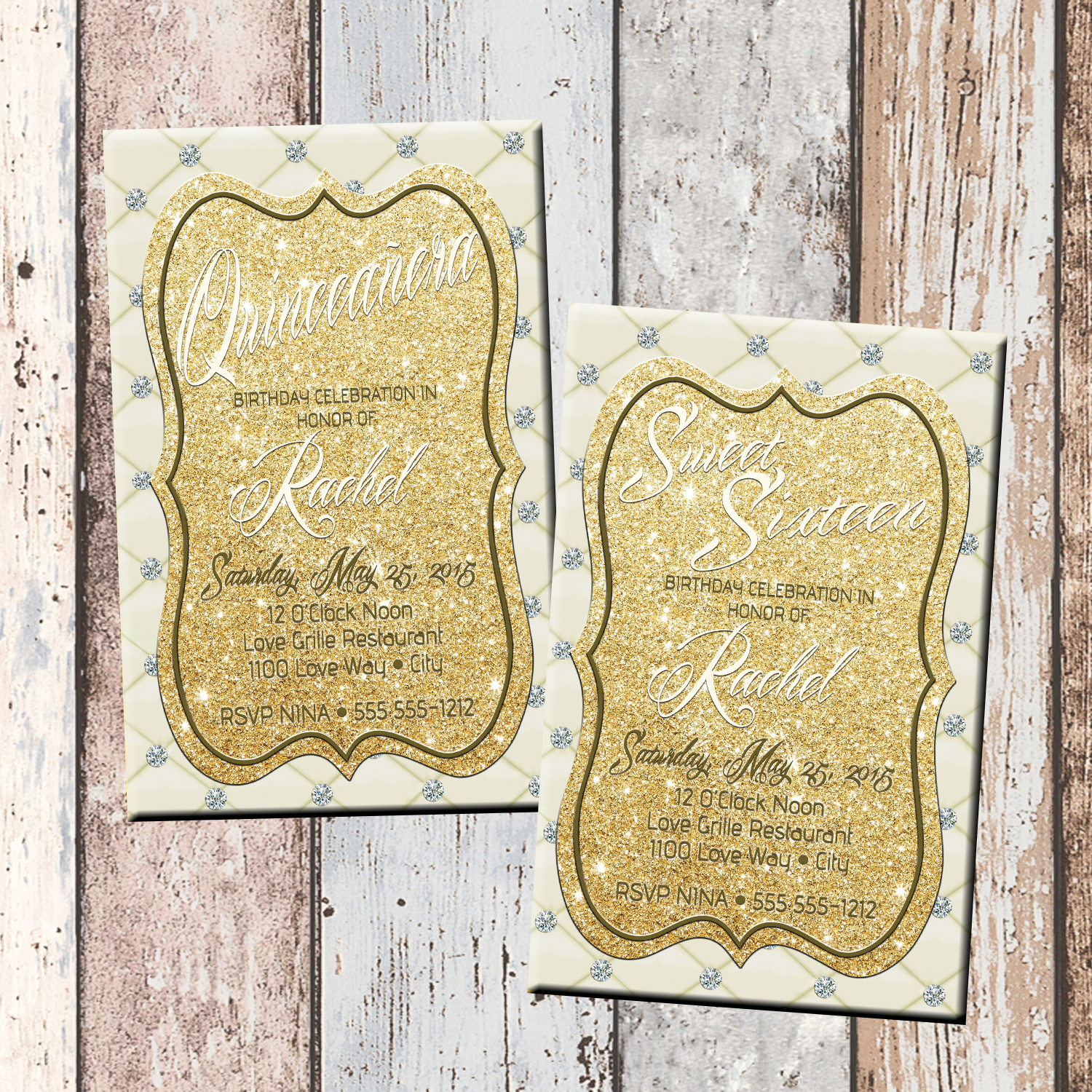 Cream Gold Elegance Quinceanera Or Sweet 16 Personalized Birthday Invitation 1 Sided Card