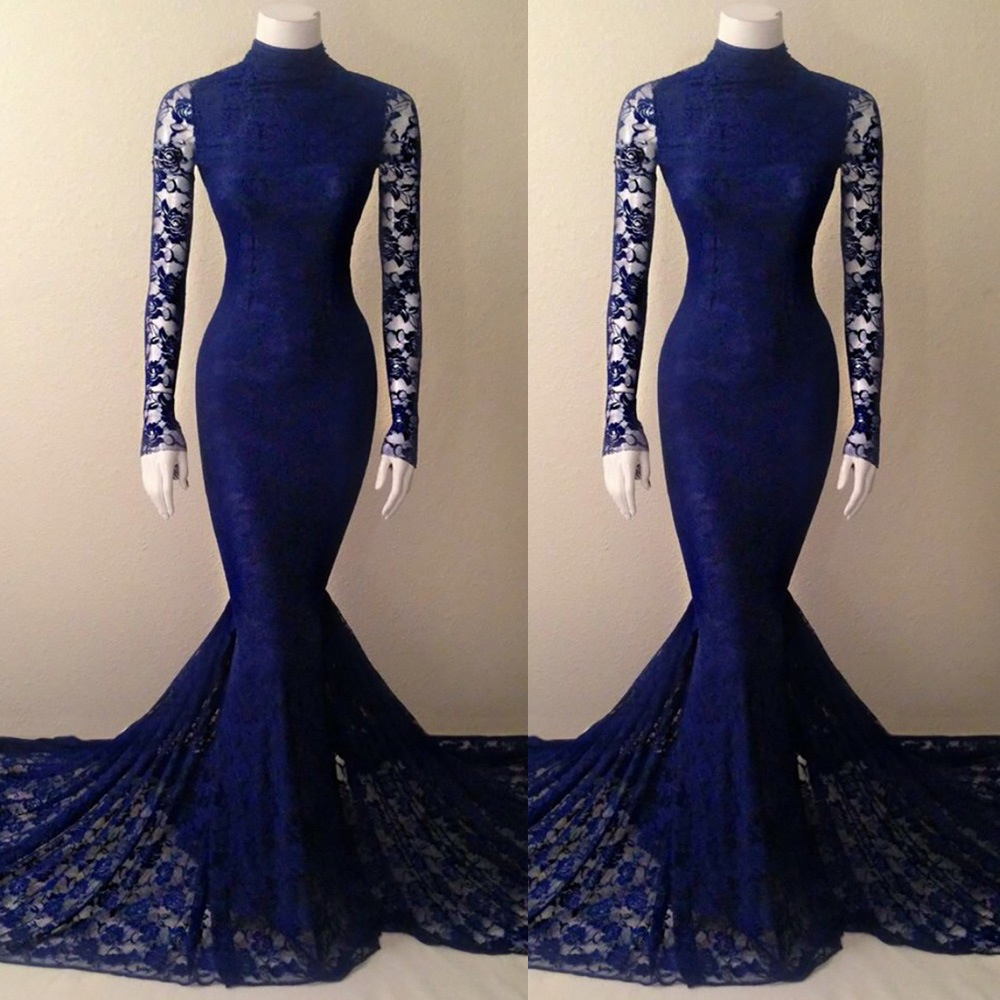 68c314fc264 Navy Blue Lace Mermaid High Neck Prom Dress With Long Sleeves ...