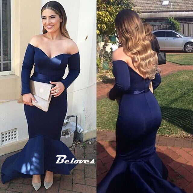 4837a6c45ef5 Navy Blue Off The Shoulder Long Sleeve Mermaid Prom Dress High Low Skirt