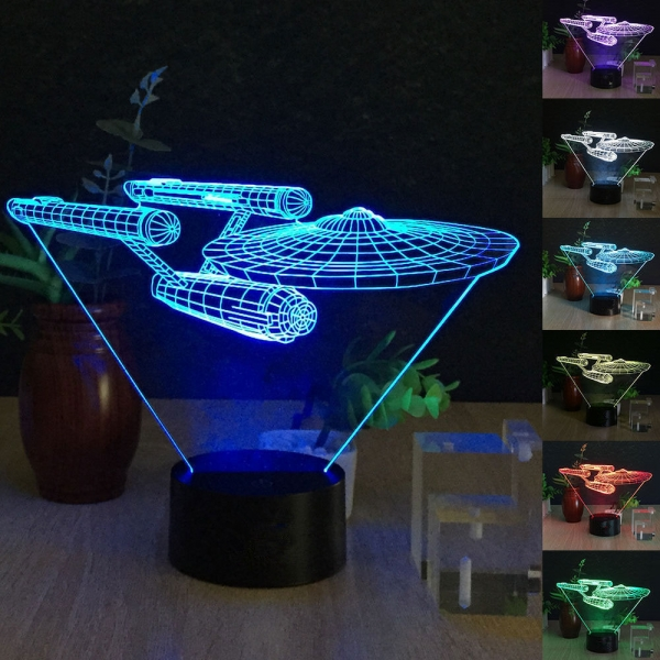 3d Star Wars Millenium Falcon Starship Death Star 7 Color Led Night