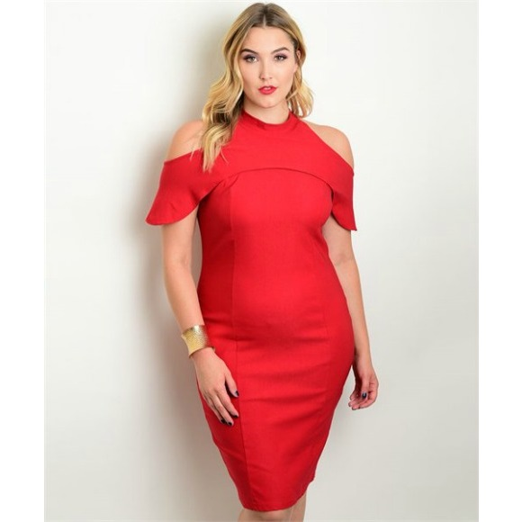 1f3873b912b Plus Size Mock Neck Open Shoulder Bodycon Mini Dress · Head2Toez ...