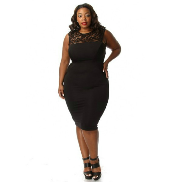 Plus Size Lace Insert Sleeveless Bodycon Midi Dress sold by Head2Toez  Apparel