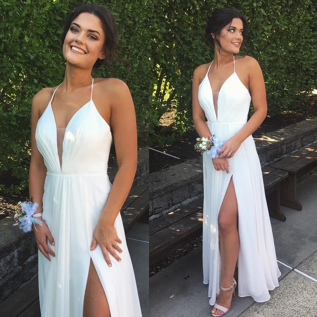 9410042cecd3 Simple v neck white chiffon long prom dress, white evening dress ...