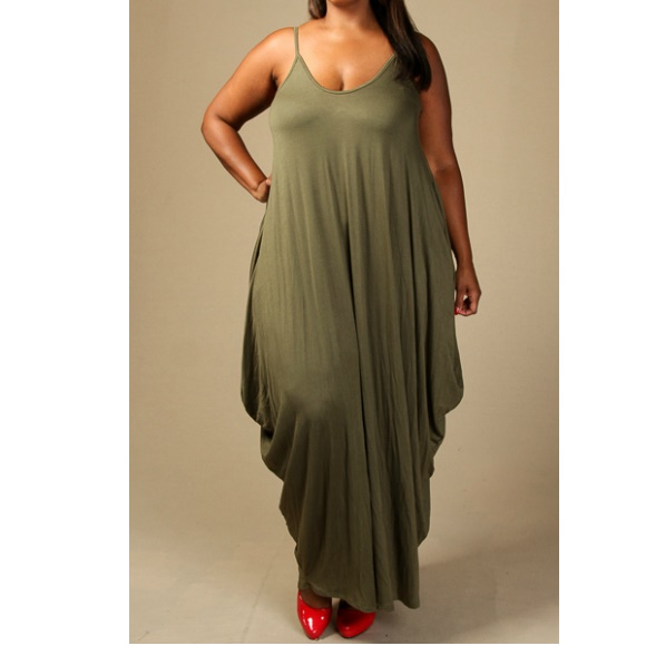 Plus Size Sleeveless Tank Jersey Maxi Dress with Pockets Olive from  Head2Toez Apparel