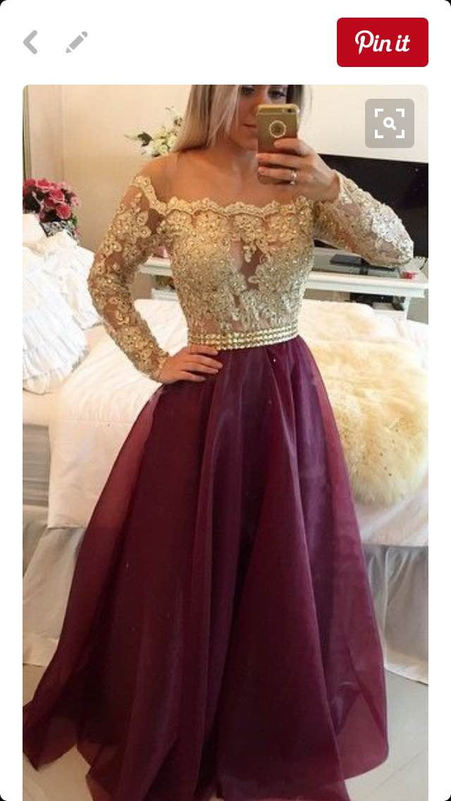 Off Shoulder Prom Dress With Long Sleevesprom Dress With Appliques