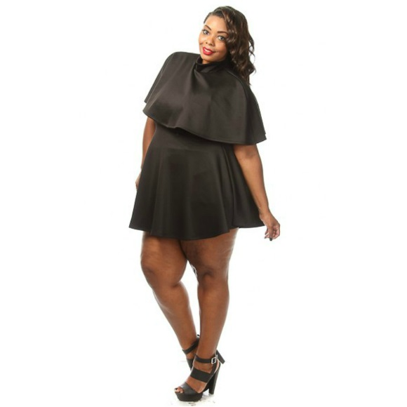 Plus Size Skater Dress with Mock Neck Cape Top Black from Head2Toez Apparel