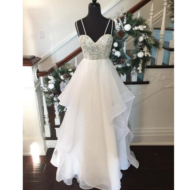 Sweetheart prom dress, beaded top prom dress, white prom dress ...
