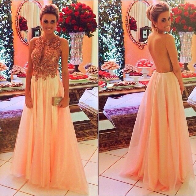 b49a64c5adbc2 elegant Pink Prom Dress LONG With Beaded sheer Back EVENING DRESSES on  Storenvy