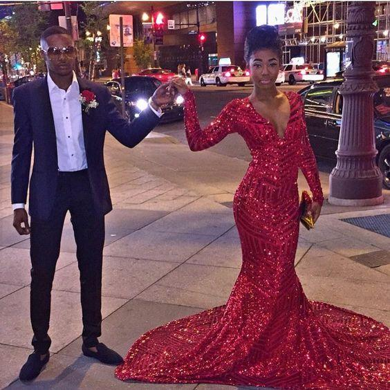 6740df7e653 African Black Girl Prom Dresses Long Mermaid Style 2018 Sexy V Neck Long  Sleeve Red Sequins Sweep Train Evening Gowns Special Occasion 2K18 on  Storenvy