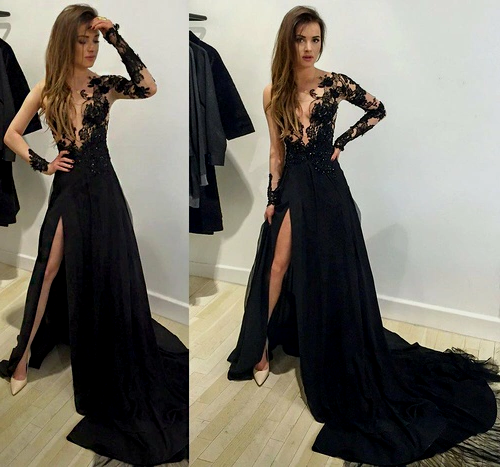 Sexy Prom Dress,Leg Slit Prom Dress, Black Prom Dress