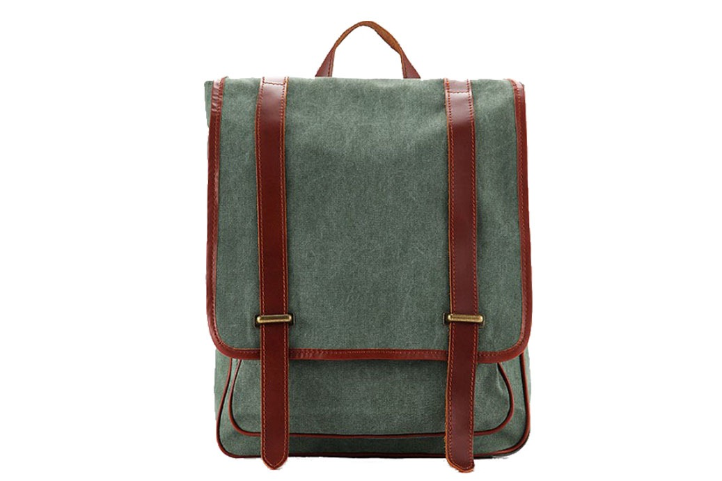 ffbe14f0ea44 Waxed Canvas Backpack with Leather Trim  Casual Backpack School Backpack  Rucksack 1831