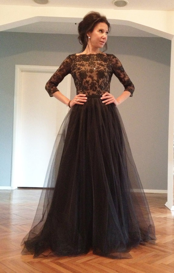 3bbe11885aae Maxi Black Open Back Lace Evening Gowns Prom Dresses 2017 New ...