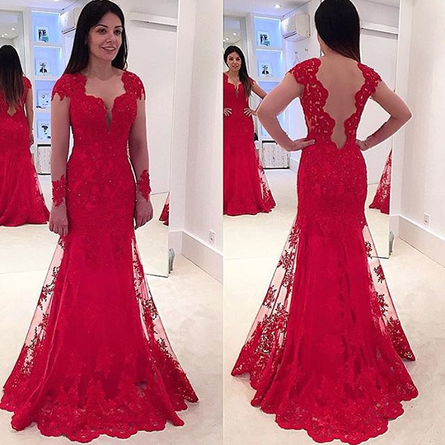Red Lace Mermaid Prom Dresses With Long Sleeves Deep V Neck Prom ...