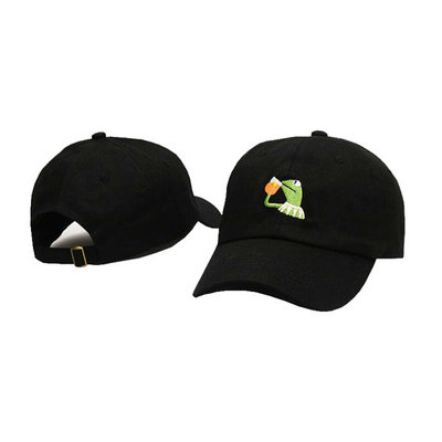 7310cd03b3f Black embroidered kermit the frog dad hat none of my business