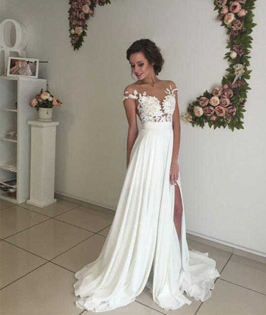 Elegant white prom dress,A-line chiffon lace long prom gown,evening ...
