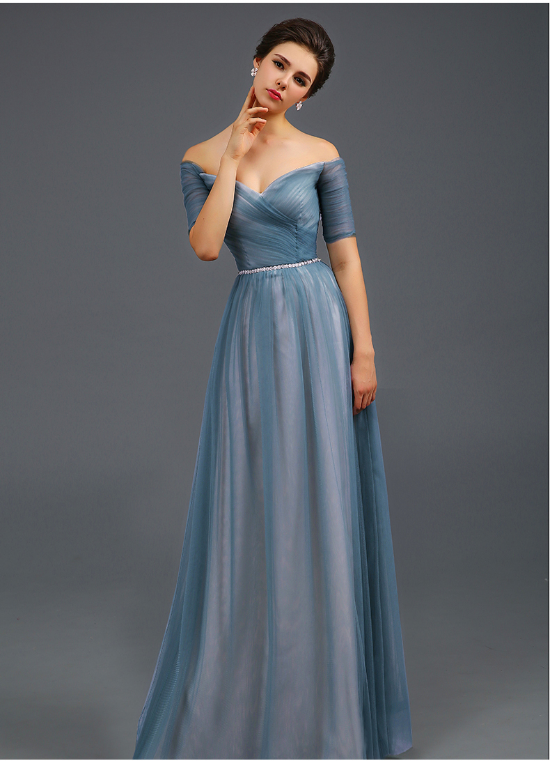 Light Blue Off The Shoulder Evening Dress A Line Formal
