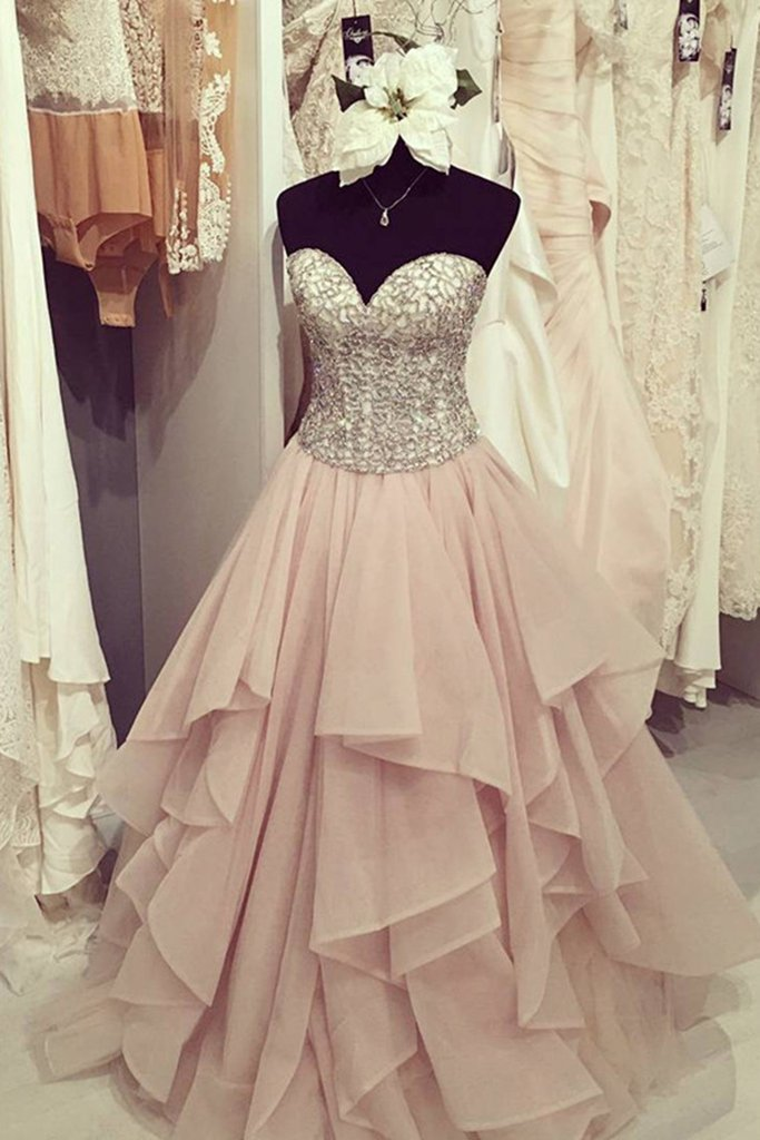 Organza A line Evening Prom Dresses, Long Beaded Party Prom Dress ...