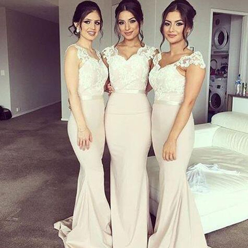 93b0c139ea2 Cap Sleeve Lace Mermaid Long bridesmaid dresses