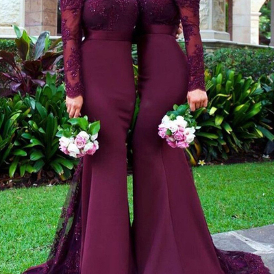 f4599ce8393d Burgundy lace mermaid prom dresses long sleeves sexy evening dress,wine red  long prom gowns