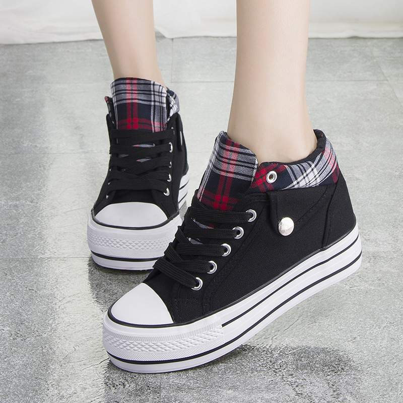 ecae8e691e9d Fashion Increased Canvas Lace Up Plaid Sneakers · Shoes Party ...