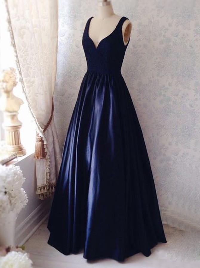 9edc9b4596 Simple V-neck Sleeveless Floor-Length Ruched Navy Blue Prom Dress on  Storenvy