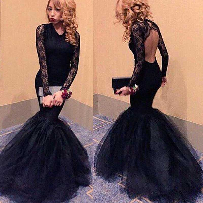 36af89110276 Long sleeve Black Mermaid Evening Prom Dresses, 2017 Long Backless Lace Prom  Dress, Custom
