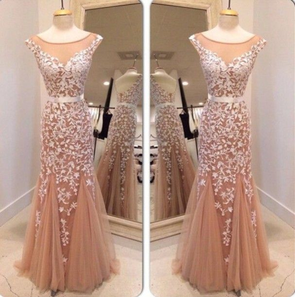 1e88ea14c48 Elegant Mermaid Scoop Low Back Champagne Tulle Prom Dresses Long Prom Gown  on Storenvy