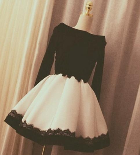 37d9b8aa8555 of girl | cute black/white short dresses, summer dress, prom dress ...