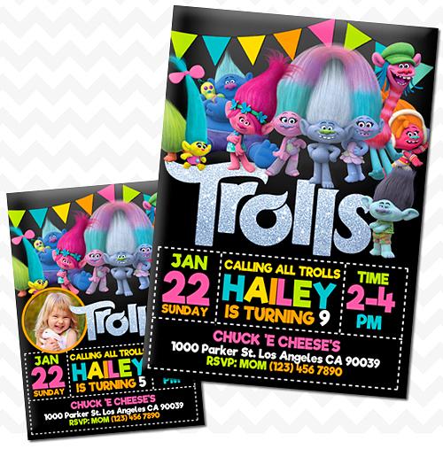 Trolls Movie Invitations Birthday Invitation