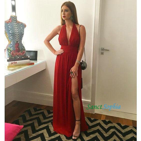 d70ab45c6a0 Full Length Halter Neckline A-line Deep Red Prom Dress