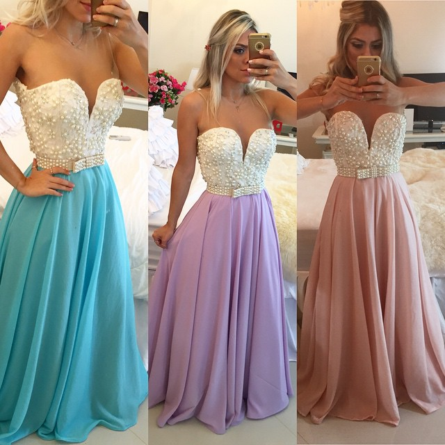 Pearls Chiffon Prom Dresses Sweetheart Neck Sheer Open Back Long
