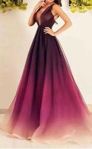 Evening Dresses Ombre Prom Dresses With Deep V Neck And Small Train ...