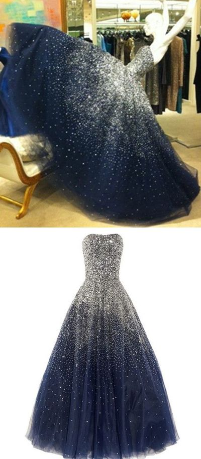 Princess Ball Gown Strapless Navy Blue Prom Dress With Sparkle ...