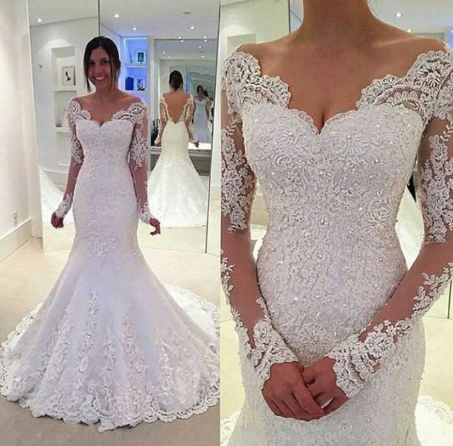 d116eeed65d11 Mermaid Long Sleeves Lace Wedding Dress,Sexy Backless Bridal Dress from  Sancta Sophia