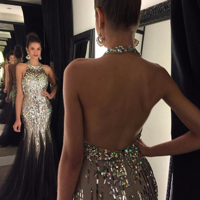 a191c5ad899 New arrival black prom dresses,mermaid backless prom dresses,halter sequin  crystal champagne evening