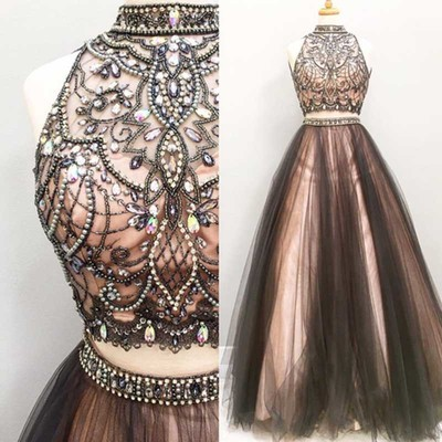 6aef6906a17 Sexy Two Pieces A line Beaded Evening Prom Dresses