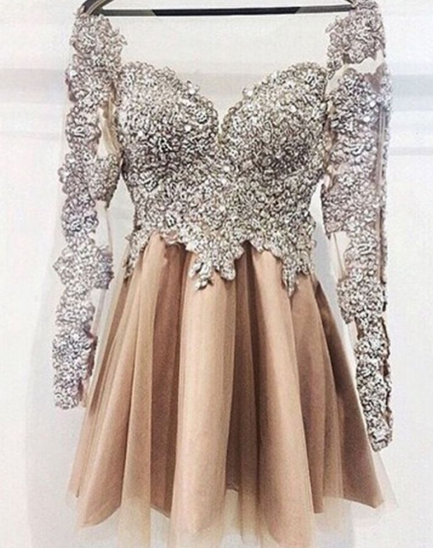 a4fa3b2ad2d Sparkly Long Sleeves Short Prom Dresses