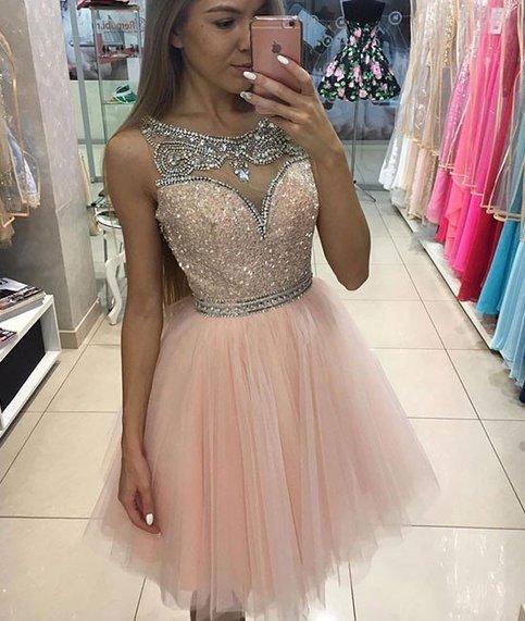 36651b372a6 Custom made pink sequins short prom dress,pink evening dresses ...