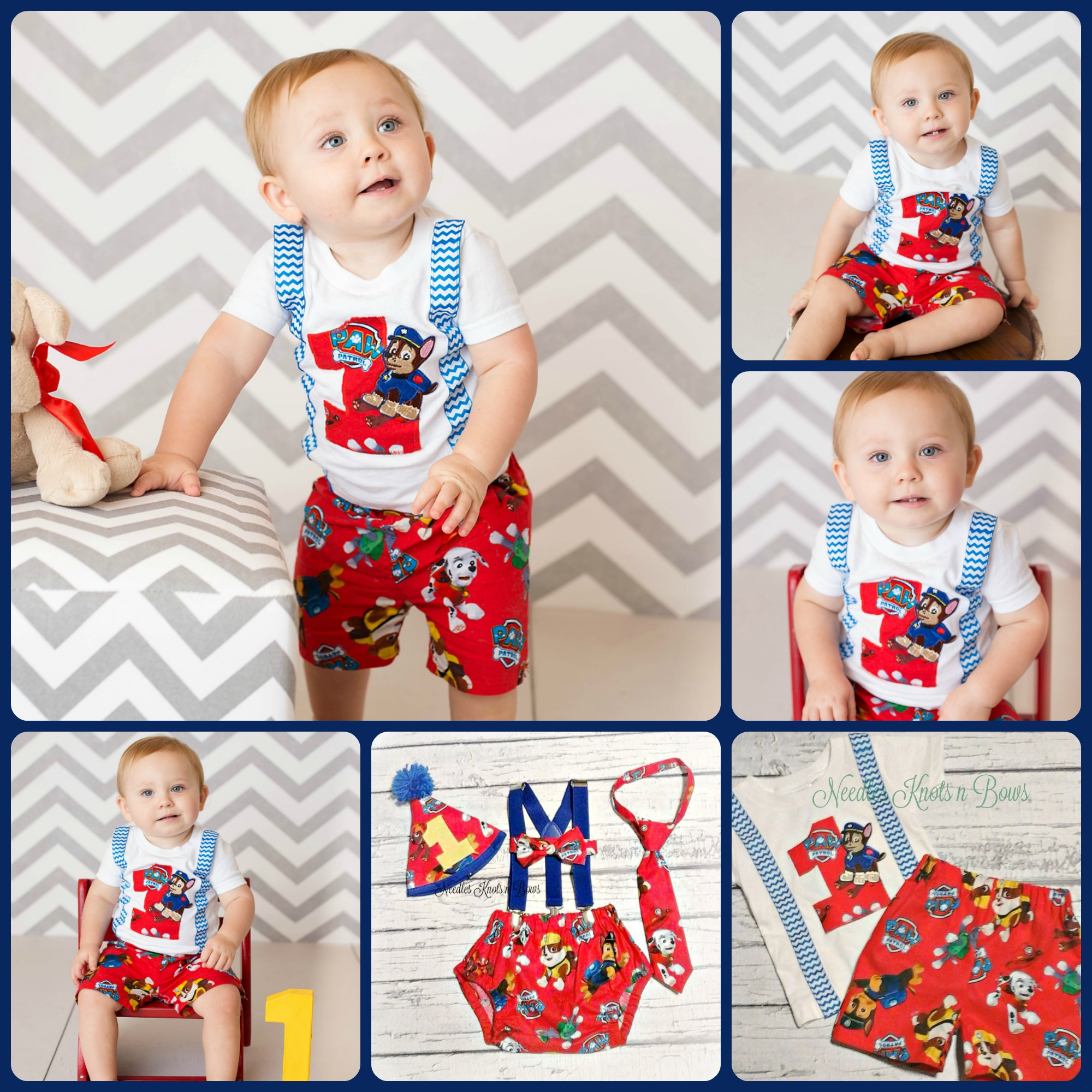 Brand new Boys Paw Patrol Cake Smash Set, Diaper Cover, Suspenders, Tie or  NN87
