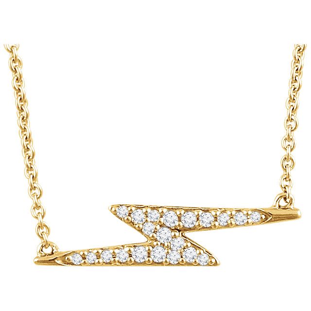 90973a8fecefa 14K Gold Diamond Lightning Bolt Pendant Necklace