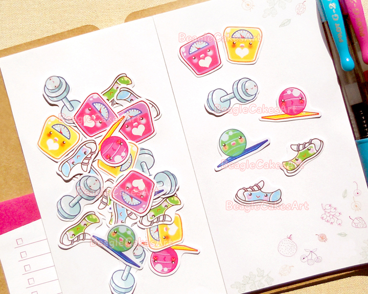 Workout Planner Stickers Cute Exercise Sticker Pack Life Planner
